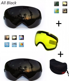 Skibril snowboard Goggles met EXTRA lens Smoke Zwart frame Zwart F type 8 Cat. 0 tot 4 - ☀/☁