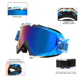 Skibril  luxe lens blauw  evo frame zwart / wit  N type 3