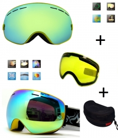 Skibril snowboard Goggles met EXTRA lens Smoke Gold frame Geel F type 6 Cat. 0 tot 4 - ☀/☁