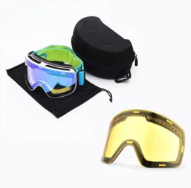 Skibril magnetische lens spiegel Magic Bleu frame wit  Y type 1 Cat. 1 tot 4 - ☀/☁