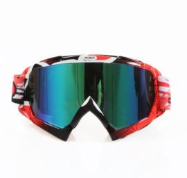 Skibril  luxe lens blauw  evo frame zwart / rood N type 13