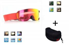 Skibril snowboard Goggles lens spiegel rood frame Rood Z type 2 Cat. 3 tot 4 - ☀/☁