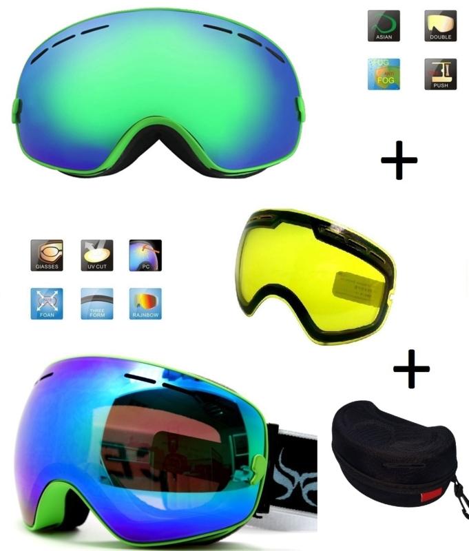 Skibril snowboard Goggles met EXTRA lens Smoke Green frame Groen F type 5 Cat. 0 tot 4 - ☀/☁