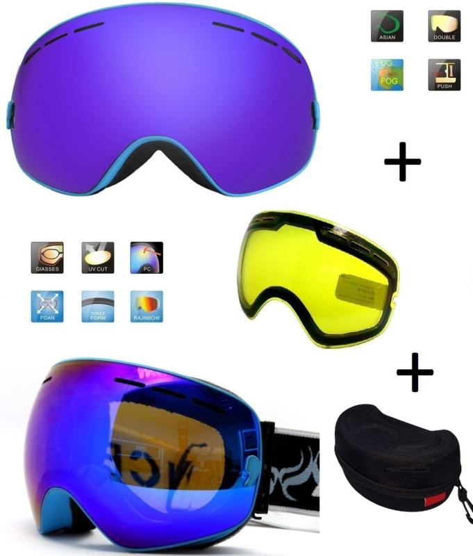 Skibril EXTRA lens Smoke Bleu frame Blauw F type 3 Cat. 0 tot 4 - ☀/☁