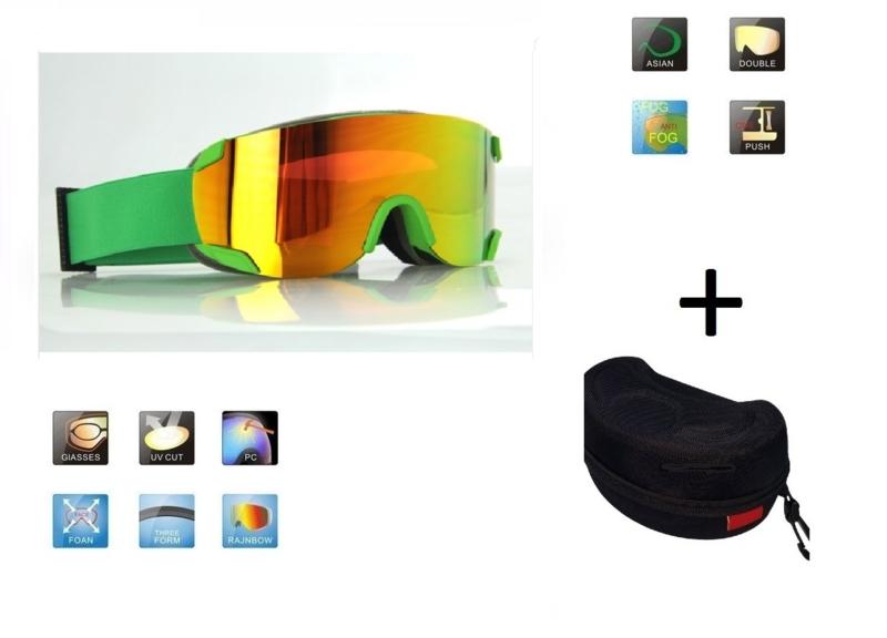 Skibril snowboard Goggles lens spiegel rood frame Groen Z type 6 Cat. 3 tot 4 - ☀/☁