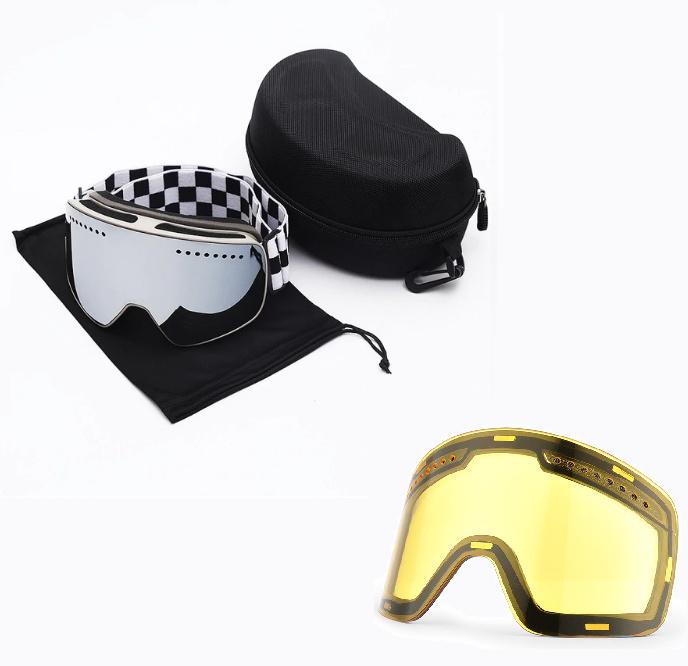 Skibril magnetische lens spiegel Silver frame wit Y type 7 Cat. 1 tot 4 - ☀/☁