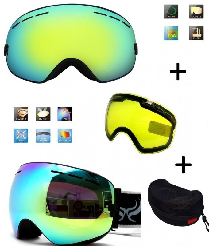 Skibril snowboard Goggles met EXTRA lens Smoke Gold frame Zwart F type 4 Cat. 0 tot 4 - ☀/☁
