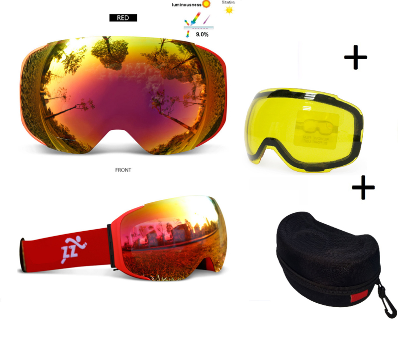 Skibril met EXTRA magnetische lens All red frame Rood AX type 4 Cat. 0 tot 4 - ☀/☁