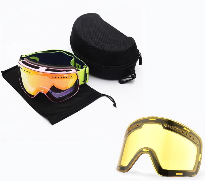 Skibril magnetische lens spiegel Magic Red frame Pink Y type 4 Cat. 1 tot 4 - ☀/☁