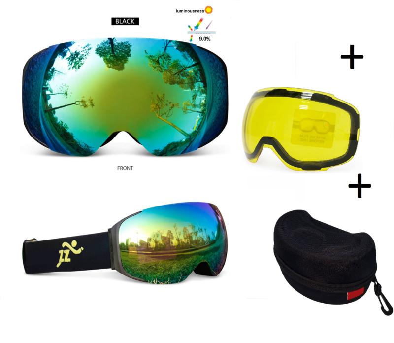Skibril met EXTRA magnetische lens green black frame Zwart AX  type 3 Cat. 0 tot 4 - ☀/☁