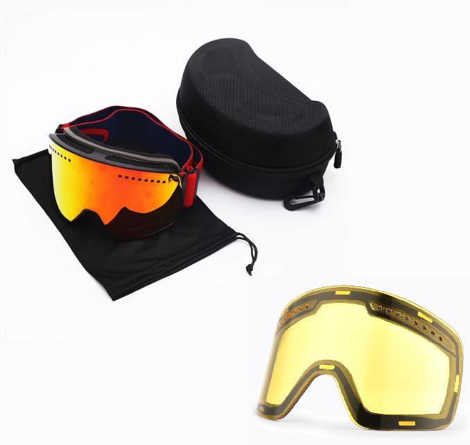 Skibril magnetische lens spiegel Magic Red frame zwart  Y type 2 Cat. 1 tot 4 - ☀/☁