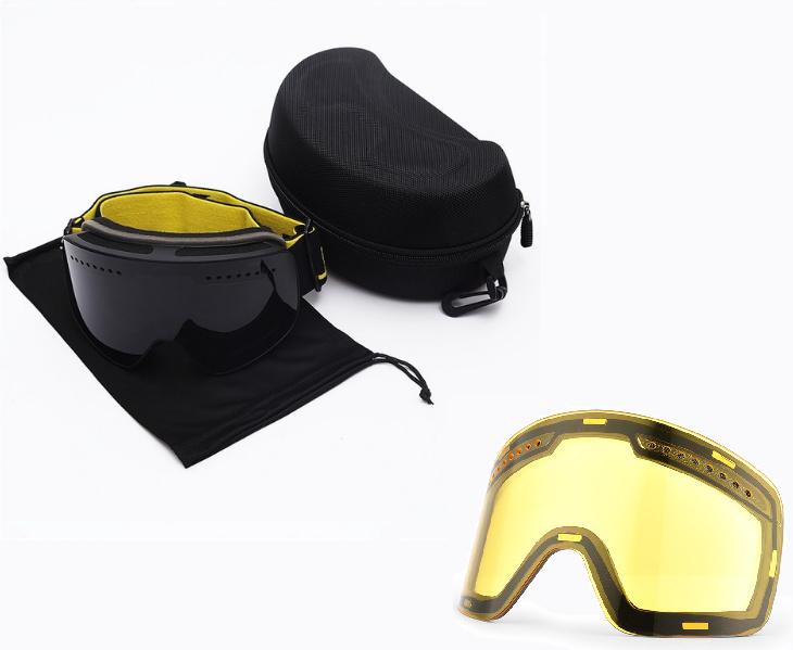 Skibril magnetische lens spiegel black frame zwart Y type 6 Cat. 1 tot 4 - ☀/☁