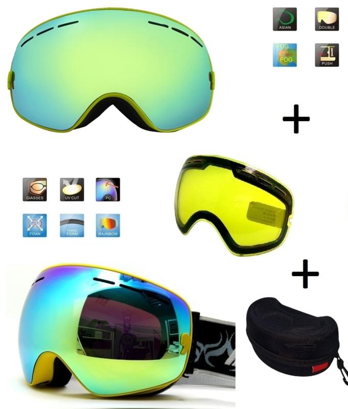 Skibril snowboard Goggles met EXTRA lens Smoke Gold frame Geel F type 6 Cat. 0 tot 4 - ☀/☁