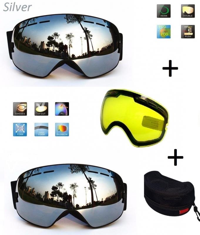 Skibril EXTRA lens Smoke Zilver frame Zwart F type 7 Cat. 0 tot 4 - ☀/☁