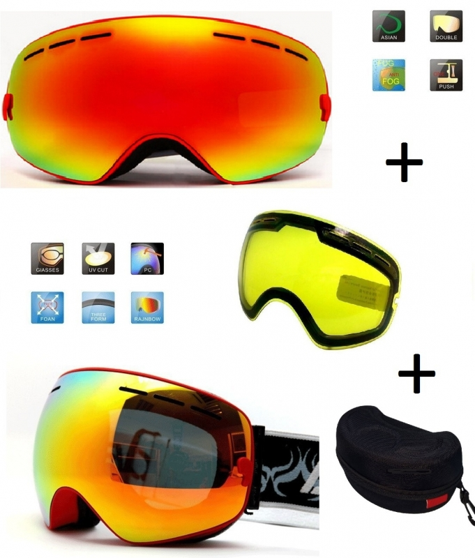 Skibril EXTRA lens Smoke red frame Rood F type 1 Cat. 0 tot 4 - ☀/☁