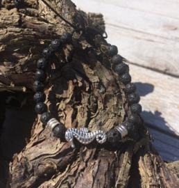 Lava stone Armband - Seahorse