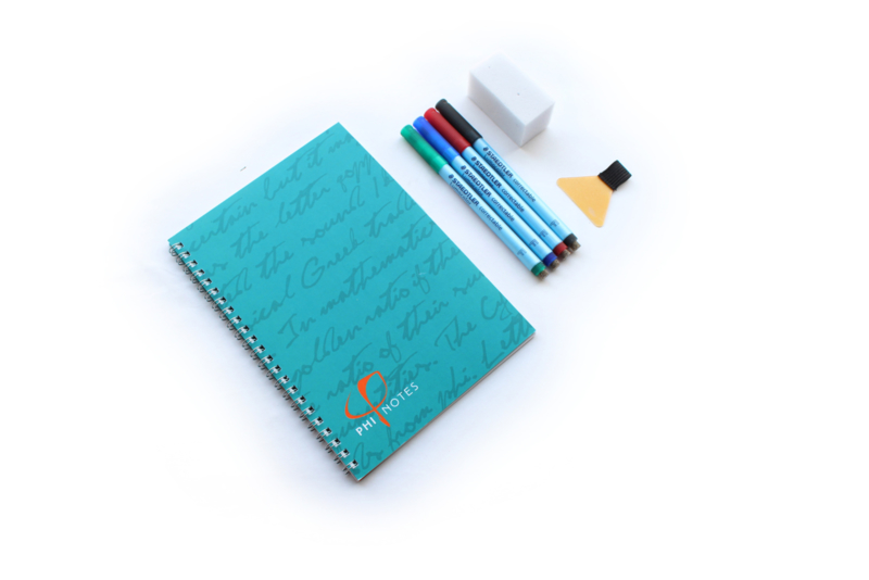 PHI Notes ringband, 4 kleuren pennen & gum