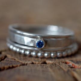 Set zilveren ringen met zirkonia