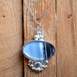 Zilveren hanger met Blauwe Agaat