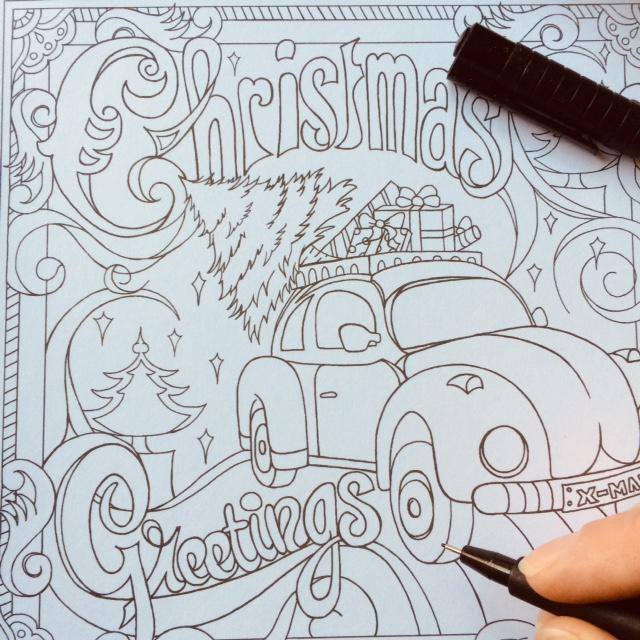Kerstkaarten om zelf in te kleuren (set van 12!)