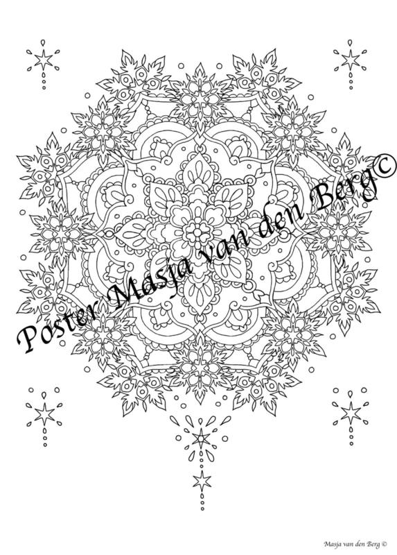 Kerst Poster!  (mandala/ster) (50 cm bij 70 cm)