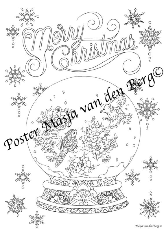 Kerst Poster!  (vogeltjes) (50 cm bij 70 cm)
