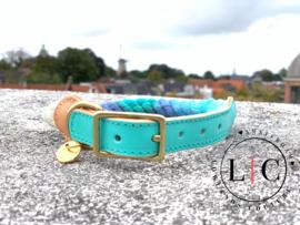 "Rope dog collar ""Tiffany Blue"""