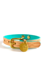 WOLFJE | LEATHER COLLAR  | NUDE | TURQUOISE
