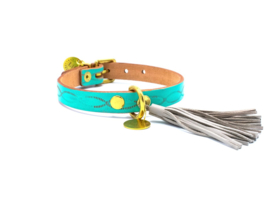 BESTIES | LEATHER DOG COLLAR  | TURQUOISE