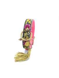 THINK PINK MAAT M  LEATHER DOG COLLAR