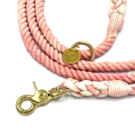 SIZE S PUPPY CORAL COTTON ROPE DOG LEASH, ADJUSTABLE 2M