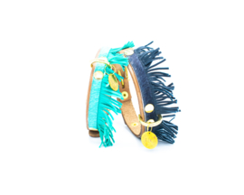 LES BELLES  | BLUE | LEATHER DOG COLLAR  WITH FRINGE