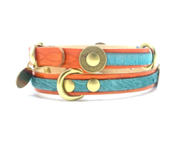 ORANGE/TURQUOISE LEATHER DOG COLLAR