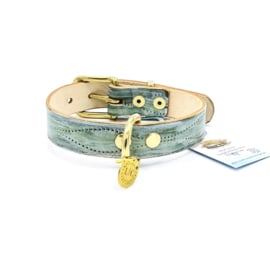 GREY/GREEN DOG COLLAR  |  LEATHER