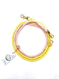 SIZE M | COTTON YELLOW/CORAL DOG LEASH  | 2M
