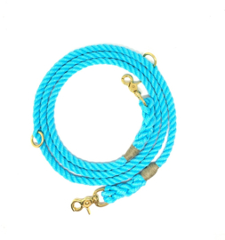 SIZE M TURQUOISE NYLON DOG ROPE LEASH, ADJUSTABLE 2.20M