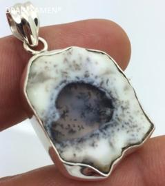 DRAGI KAMEN® - 925 Zilveren hanger met geslepen Dendriet Opaal.