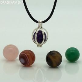 DRAGI KAMEN® - 925 zilveren wisselhanger met 5 edelsteen bollen.