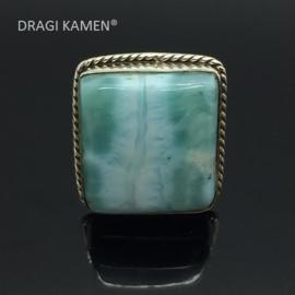 Larimar ring, 925/000 zilver, maat 19