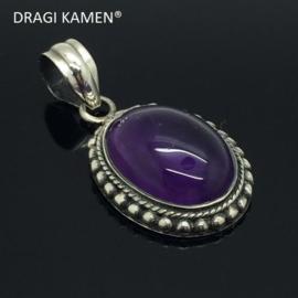 DRAGI KAMEN®- 925 zilveren hanger met geslepen Amethyst uit Uruguay