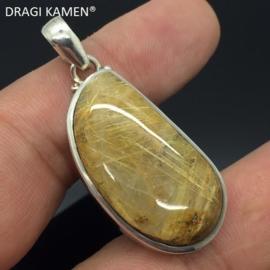 DRAGI KAMEN®- 925 zilveren hanger met geslepen Rutielkwarts cabochon