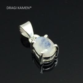 DRAGI KAMEN® - Regenboog Maansteen facet geslepen hanger in 925 zilveren zetting.