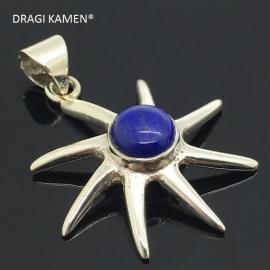 925/000 zilveren hanger met geslepen AAA blue lapis lazuli.