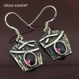 925 zilveren oorbellen met geslepen Mystic Topaas