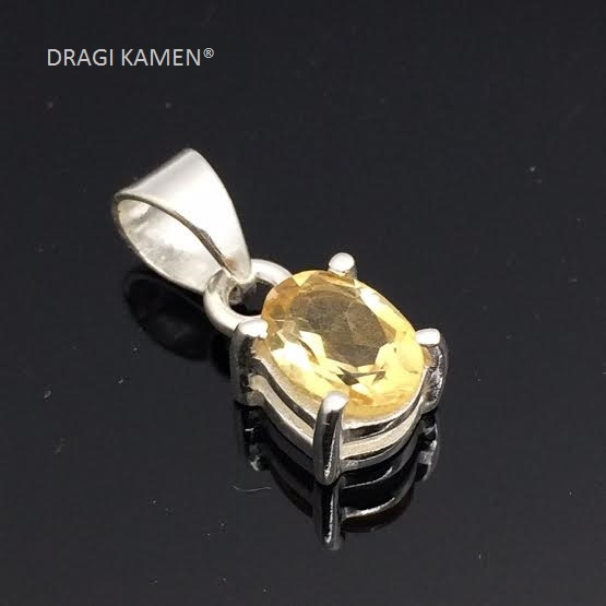 DRAGI KAMEN® - Citrien facet geslepen hanger in 925 zilveren zetting.