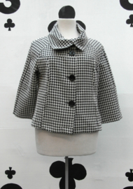 50s Valerie Houndstooth Coat in Black and Ivory