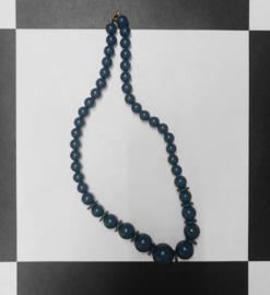 Vintage Kralen ketting - Donkerblauw