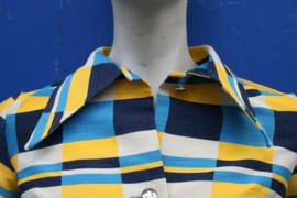 60s Lola minidress/tuniek in Dazzling Blue & Yellow