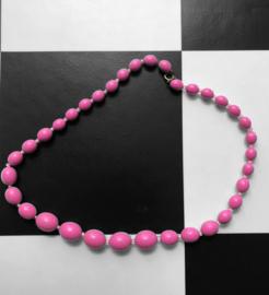 Vintage Kralen ketting (ovaal) - Roze