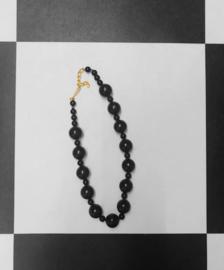 Vintage Kralen ketting - Zwart